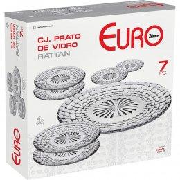 Imagem - Conjunto de Pratos Vidro Rattan 7 Peças Transparente VDR7589 - Euro Home