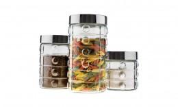 Imagem - Conjunto Potes de Vidro Bolinhas 3 Peças com Tampa 941500-3 - Euro Home