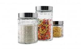 Imagem - Conjunto Potes de Vidro com Tampa Inox 3 Peças 80129-3 - Euro Home