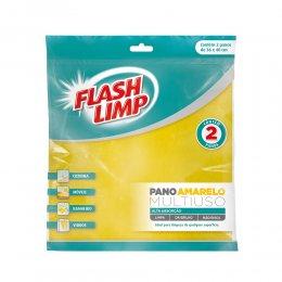 Imagem - Kit 2 Panos de Limpeza Multiuso Amarelo FLP7242 - Flashlimp