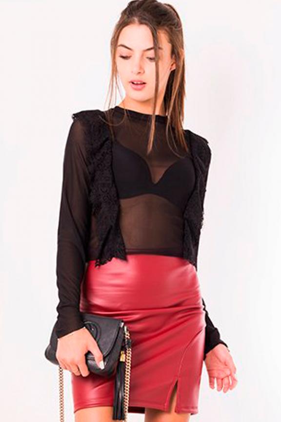 Blusa Cropped em Tule com Renda