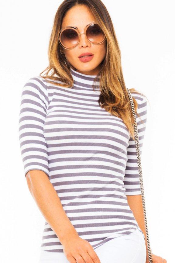 d8635ba8e9 Blusa Feminina de Malha Canelada Listrada BL2913 - Kam Bess