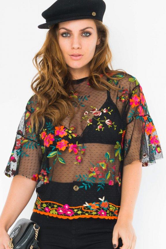2b3a0aa38 Blusa de Tule transparente com bordados BL3911 - Kam Bess