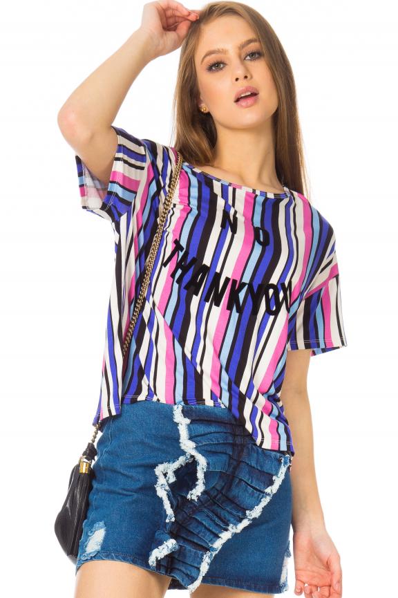 Blusa Listrada com Estampa Frontal