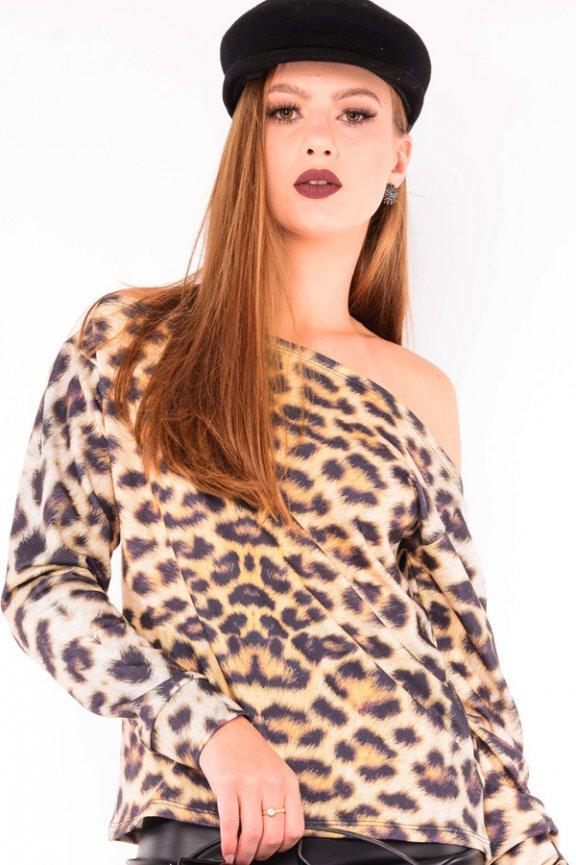 a3986a50e Blusa Feminina Ombro Caído Animal Print ML0423 - Kam Bess