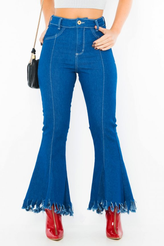 Calca Jeans Cropped Flare