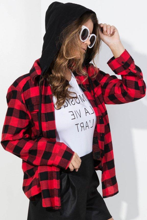 8d2344fff2b Camisa xadrez com capuz BL3952 - Kam Bess