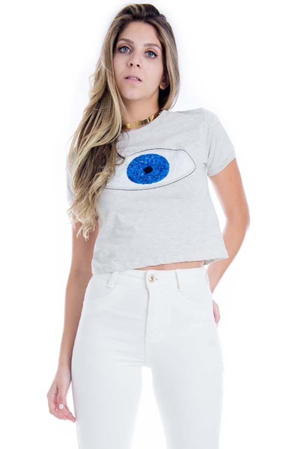 Cropped Mescla com Bordado Eye