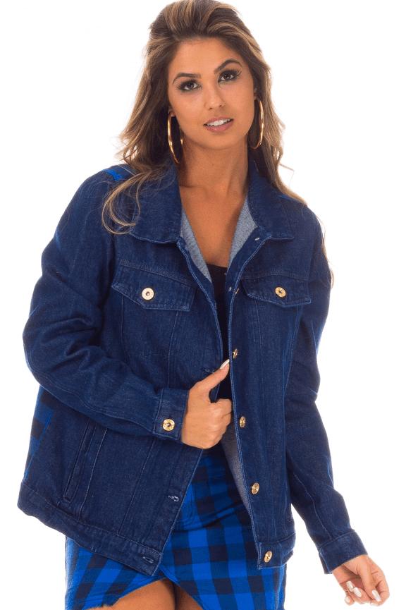 Jaqueta com Costas em Tecido Estampado
