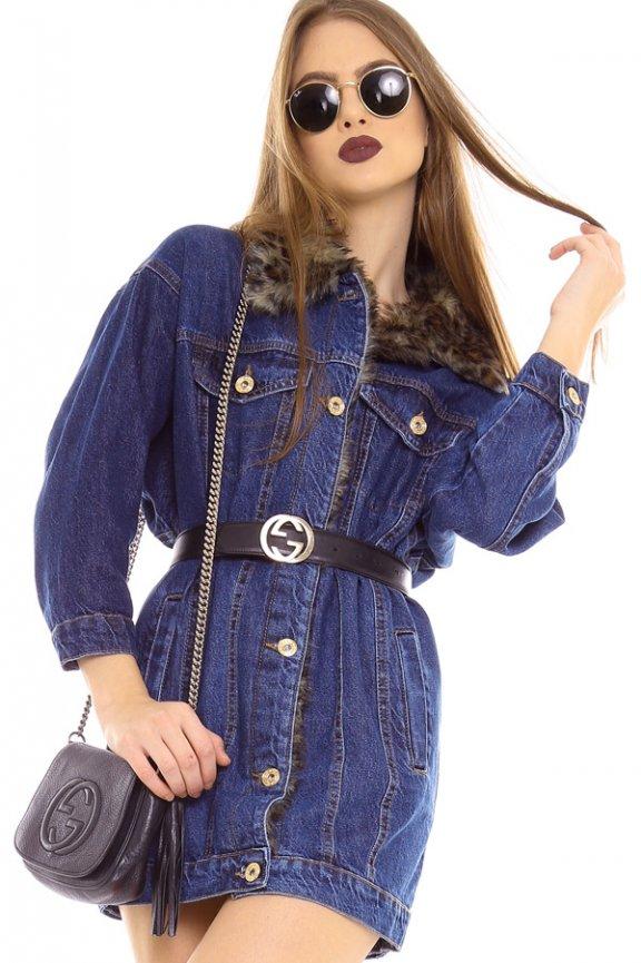 2b8a1d6baf Jaqueta Feminina Jeans Oversized com Pelos JA0103 - Kam Bess