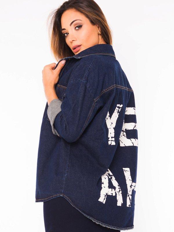 Jaqueta Jeans Oversized com Lettering