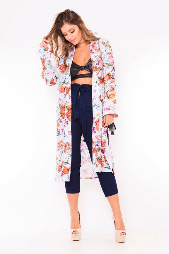 Kimono Estampado Longo