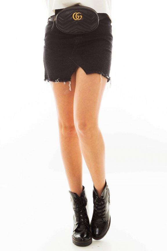 Mini Saia Jeans com Barra Assimétrica