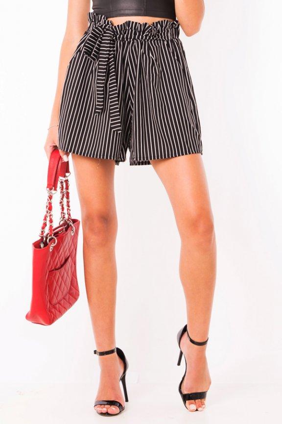 Shorts de Linho Cintura Alta Estampado