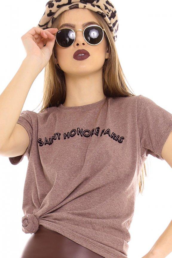 T-shirt com Lettering Print