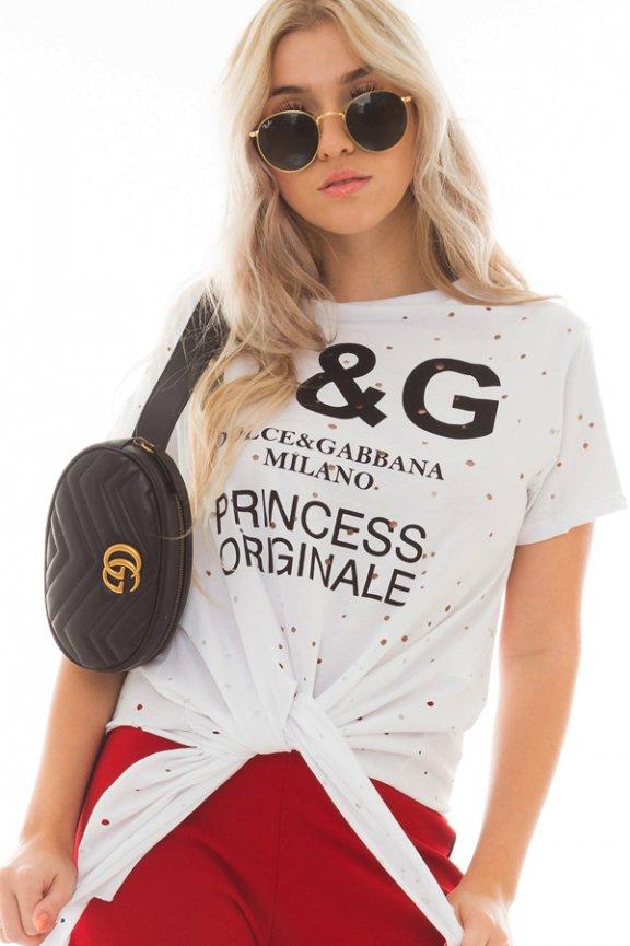T-shirt Destroyed com Lettering e Amarração