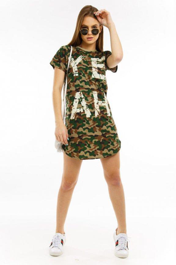 T-shirt Dress Camuflado com Estampa