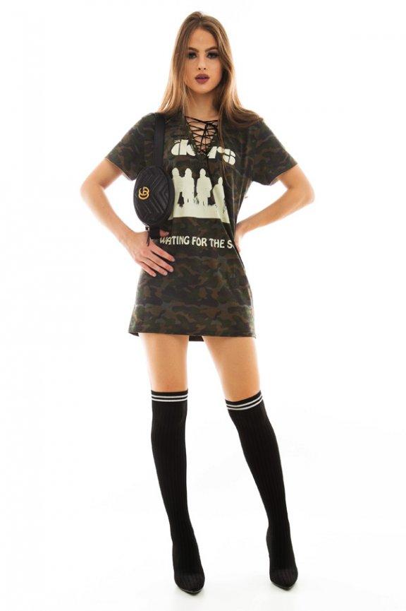 T-shirt Dress com Detalhe Trançado