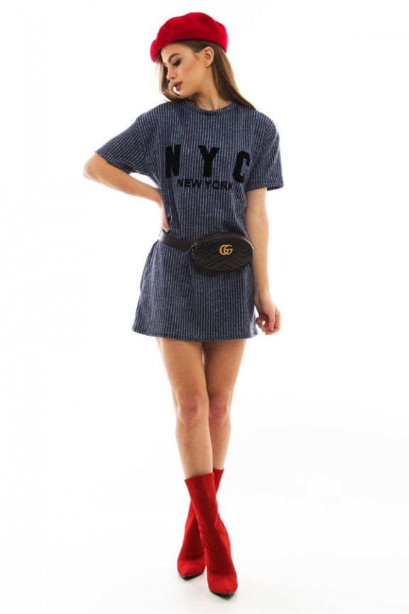 T-shirt Dress com Lettering Flocado