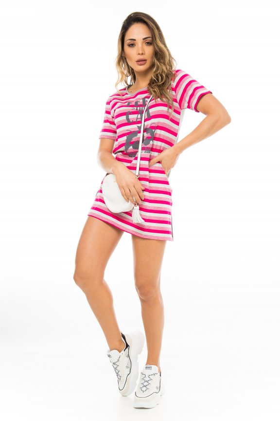 T-shirt Dress Listrado com Etampa Frontal