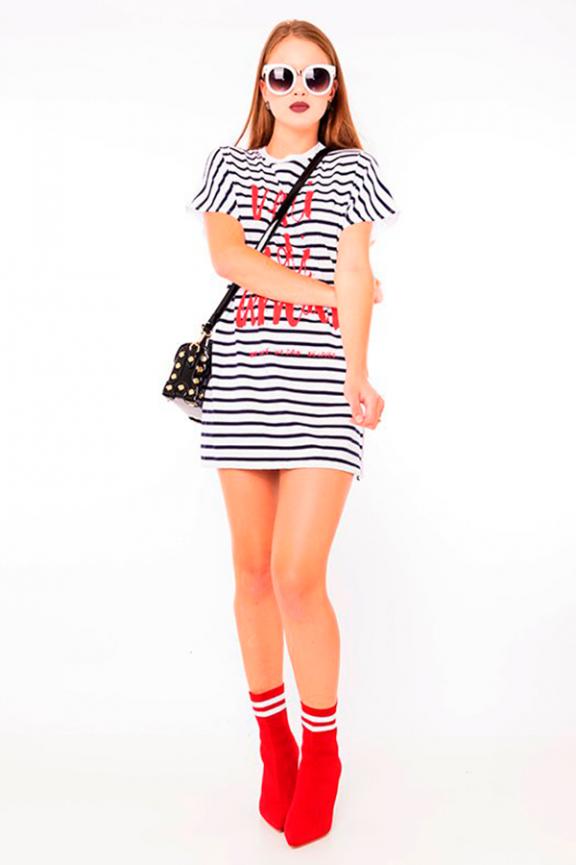 T-shirt dress Listrada com Lettering