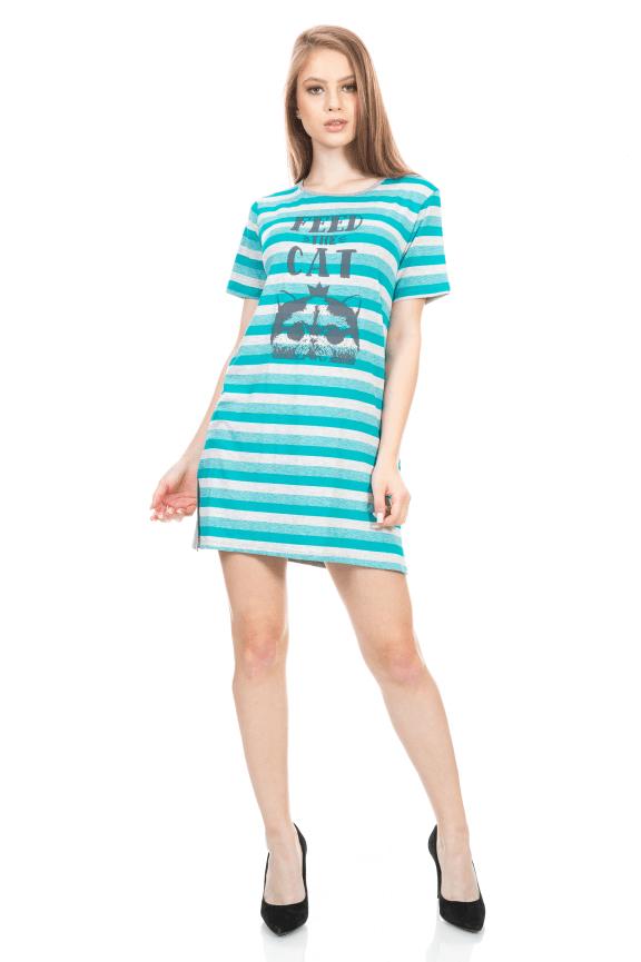 T-shirt Dress Listrado com Etampa Frontal