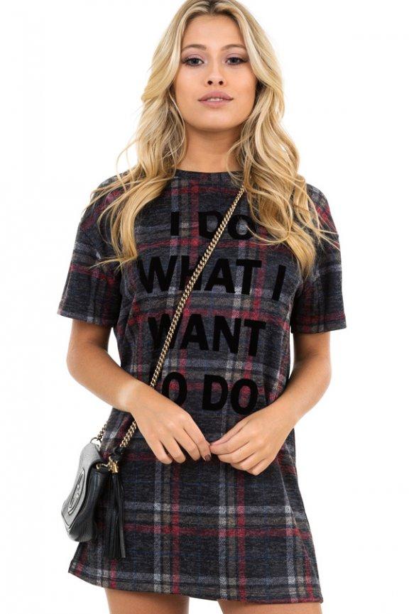 T-shirt Dress Xadrez