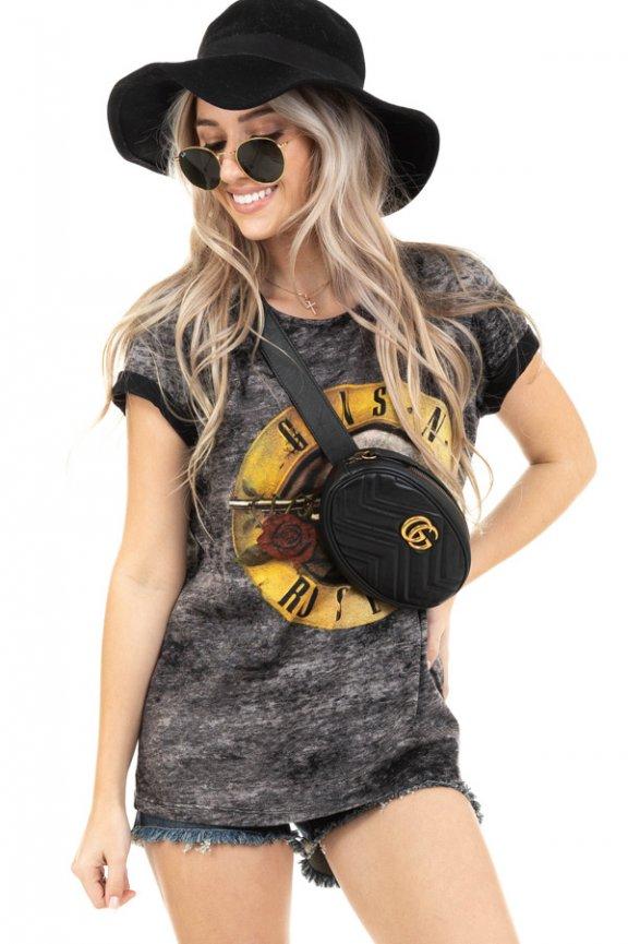 T-shirt Marmorizada com Estampa