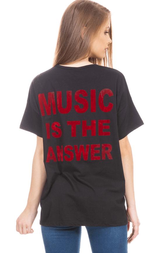 T-shirt Oversized com Lettering Costas