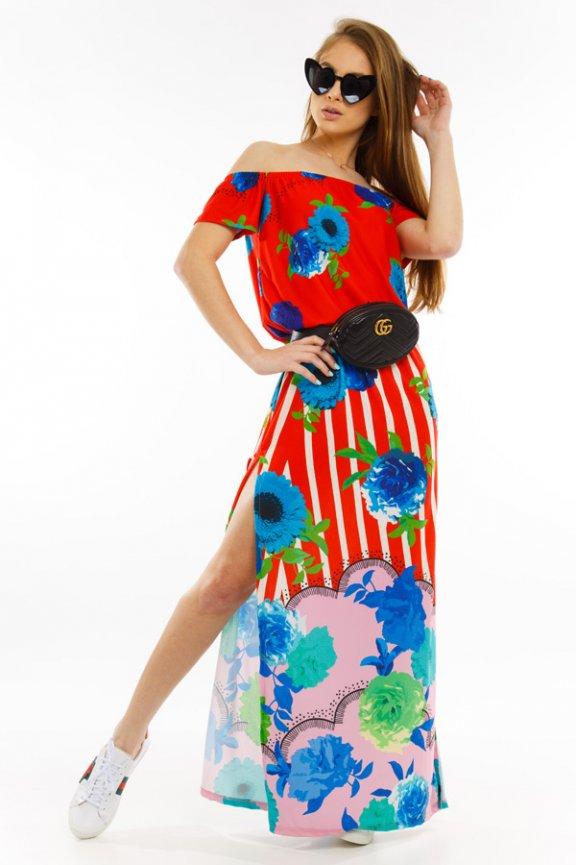 Vestido Amplo Floral com Fenda