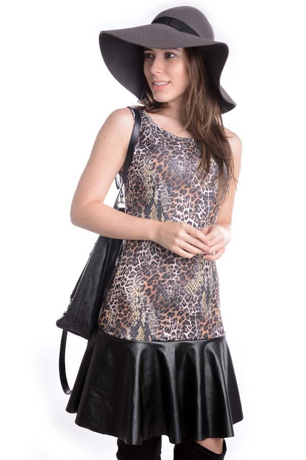 Vestido Animal Print com Courino