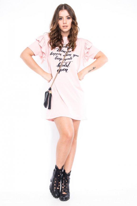 T-shirt Dress com Babado na Manga