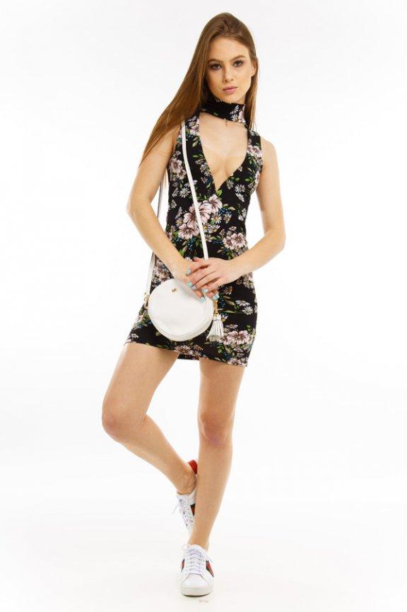 Vestido Floral com Decote e Gola Choker