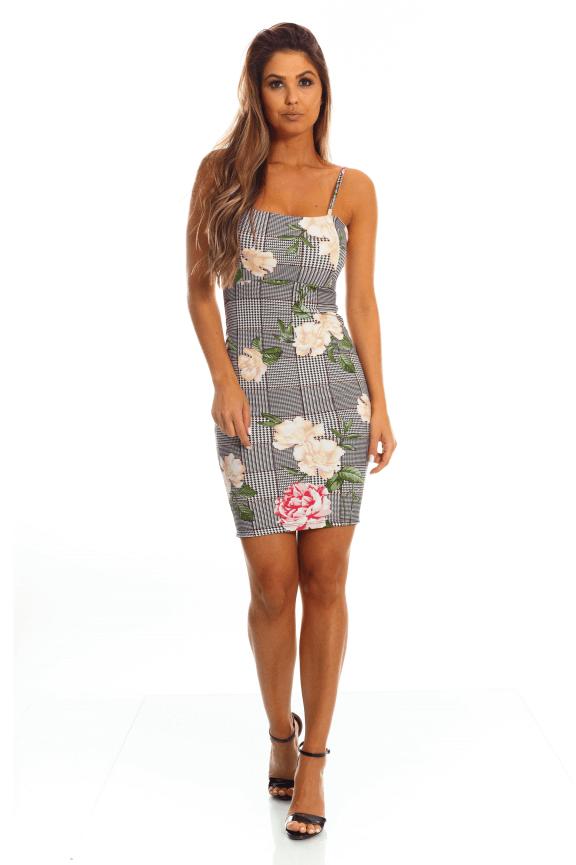 Vestido Floral com Decote Reto