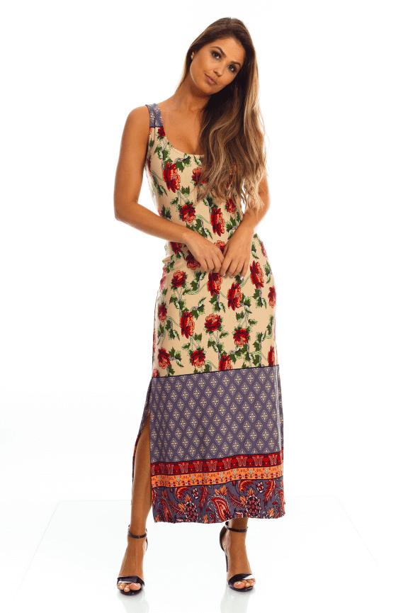Vestido Floral com Detalhe nas Costas