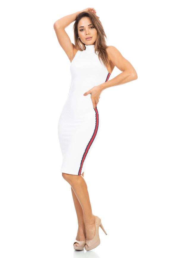Vestido Gola Alta com Listra Lateral