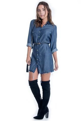 Vestido Jeans com Bolso
