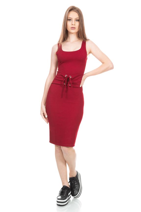 Vestido Midi Regata com Detalhe de Cinto