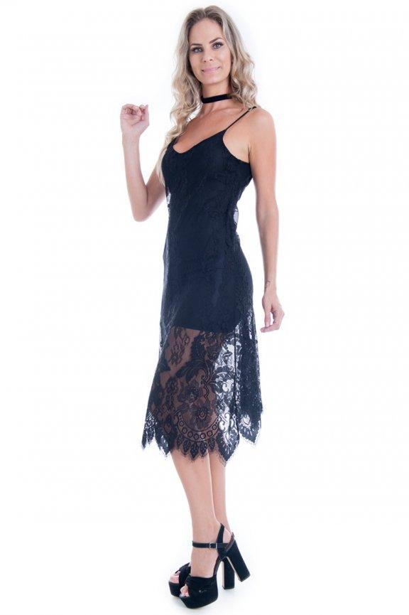 ecb0636d43 Vestido Feminino Midi Rendado de Alcinha VE1683 - Kam Bess