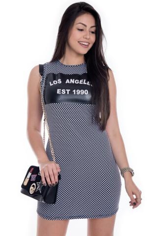 Vestido Regata de Poá com Estampa Los Angeles