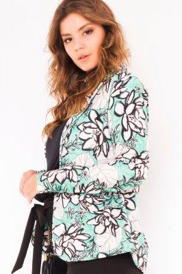 Imagem - Blazer Acinturado Alongado Estampa Floral