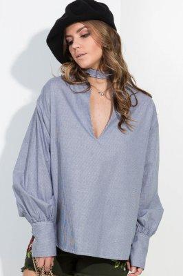 Imagem - Camisa Ampla de Vichy com Gola Choker