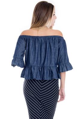 Imagem - Blusa Ciganinha Jeans