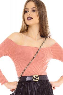 Imagem - Blusa Cropped Canelada Ombro a Ombro