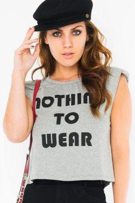 Imagem - Blusa Cropped com Ombreiras e Lettering