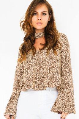 Imagem - Blusa Cropped Estampada com Gola Choker