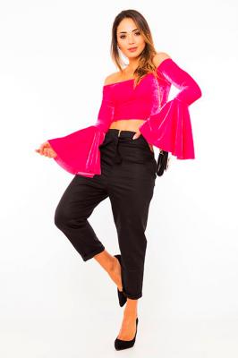 Imagem - Blusa Cropped Velvet Ombro a Ombro
