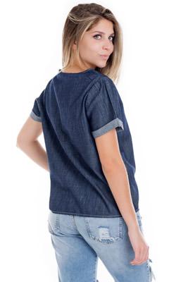 Imagem - Blusa em Jeans com Bordados