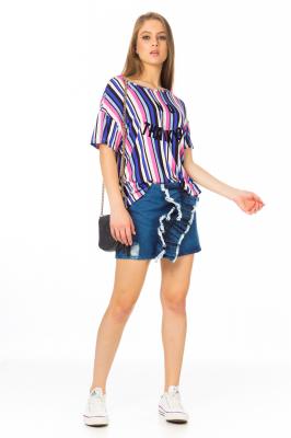 Imagem - Blusa Listrada com Estampa Frontal
