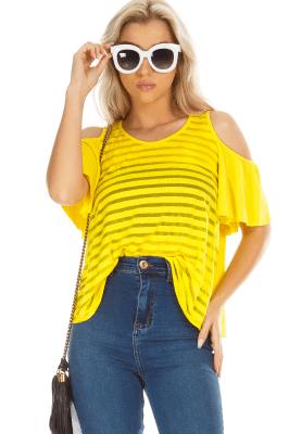 Imagem - Blusa Listrada com Recorte nos Ombros